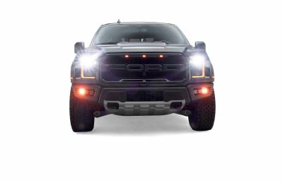 ZROADZ                                             - 2017-2021 Ford F-150 Raptor Front Bumper OEM Fog Amber LED Kit with (2) 3 Inch Amber LED Pod Lights and (4) 3 Inch LED Pod Lights- PN #Z325672-KIT - Image 6