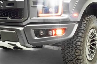 ZROADZ                                             - 2017-2021 Ford F-150 Raptor Front Bumper OEM Fog Amber LED Kit with (2) 3 Inch Amber LED Pod Lights and (4) 3 Inch LED Pod Lights- PN #Z325672-KIT - Image 8