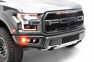 ZROADZ                                             - 2017-2021 Ford F-150 Raptor Front Bumper OEM Fog Amber LED Kit with (2) 3 Inch Amber LED Pod Lights and (4) 3 Inch LED Pod Lights- PN #Z325672-KIT - Image 9