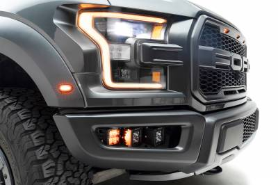 ZROADZ                                             - 2017-2021 Ford F-150 Raptor Front Bumper OEM Fog Amber LED Kit with (2) 3 Inch Amber LED Pod Lights and (4) 3 Inch LED Pod Lights- PN #Z325672-KIT - Image 12