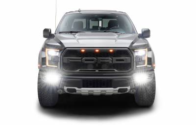 ZROADZ                                             - 2017-2021 Ford F-150 Raptor Front Bumper OEM Fog Amber LED Kit with (2) 3 Inch Amber LED Pod Lights and (4) 3 Inch LED Pod Lights- PN #Z325672-KIT - Image 15