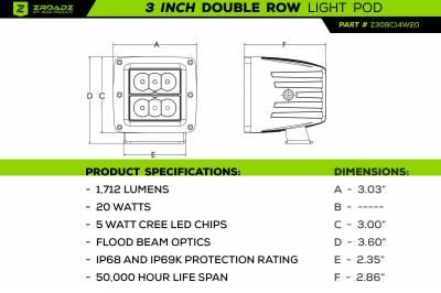 ZROADZ                                             - 2007-2013 Silverado, Sierra 1500 Hood Hinge LED Kit  Incl. (2) 3 Inch LED Pod Lights - PN #Z362051-KIT2 - Image 2