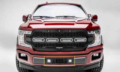 T-REX GRILLES - 2018-2020 F-150 Limited, Lariat Revolver Bumper Grille, Black, 1 Pc, Overlay with (2) 3 Inch LED Cube Lights - PN #6525751 - Image 1