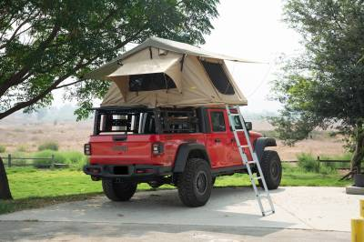 ZROADZ OFF ROAD PRODUCTS - 2019-2021 Jeep Gladiator Access Overland Rack With Three Lifting Side Gates, For use on Factory Trail Rail Cargo Systems - PN #Z834211 - Image 24