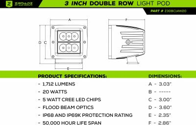 ZROADZ                                             - Jeep JL, Gladiator Front Roof LED Kit with (1) 50 Inch LED Straight Double Row Light Bar and (4) 3 Inch LED Pod Lights - PN #Z374831-KIT4 - Image 15