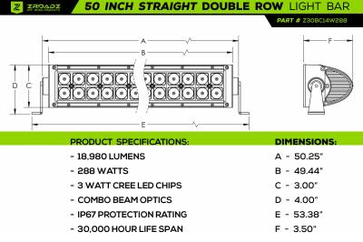 ZROADZ                                             - Jeep JL, Gladiator Front Roof LED Kit with (1) 50 Inch LED Straight Double Row Light Bar and (2) 3 Inch LED Pod Lights - PN #Z374831-KIT2 - Image 7