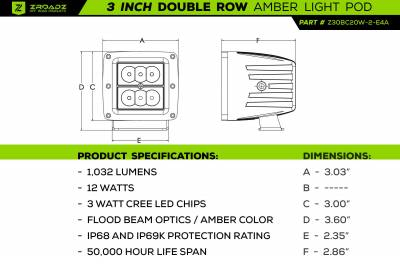 ZROADZ                                             - 2017-2021 Ford F-150 Raptor Front Bumper OEM Fog Amber LED Kit with (2) 3 Inch Amber LED Pod Lights and (4) 3 Inch LED Pod Lights- PN #Z325672-KIT - Image 23