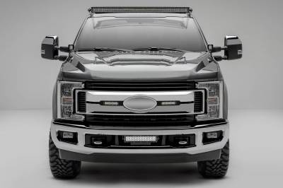 ZROADZ                                             - 2017-2019 Ford Super Duty XLT, XL STX OEM Grille LED Kit with (2) 6 Inch LED Straight Single Row Slim Light Bars, Black - PN #Z415571-KIT - Image 1