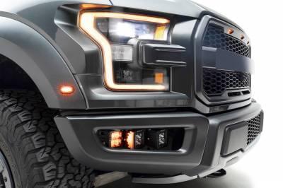 ZROADZ                                             - 2017-2021 Ford F-150 Raptor Front Bumper OEM Fog Amber LED Kit with (2) 3 Inch Amber LED Pod Lights and (4) 3 Inch LED Pod Lights- PN #Z325672-KIT - Image 2