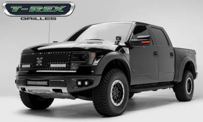 """T-REX GRILLES - 2010-2014 F-150 Raptor SVT Torch Grille, Black, 1 Pc, Replacement, Chrome Studs with (2) 12"""" LEDs - PN #6315661 - Image 3"""