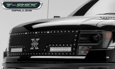 """T-REX GRILLES - 2010-2014 F-150 Raptor SVT Torch Grille, Black, 1 Pc, Replacement, Chrome Studs with (2) 12"""" LEDs - PN #6315661 - Image 4"""
