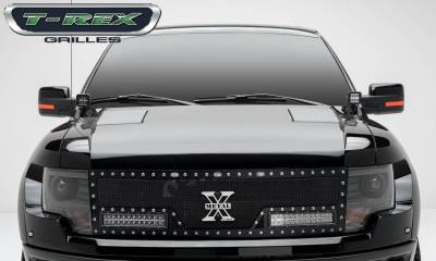 """T-REX GRILLES - 2010-2014 F-150 Raptor SVT Torch Grille, Black, 1 Pc, Replacement, Chrome Studs with (2) 12"""" LEDs - PN #6315661 - Image 5"""