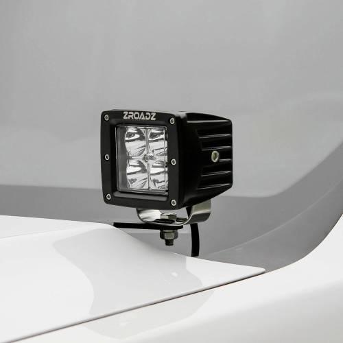 ZROADZ                                             - 2008-2010 Ford Super Duty Hood Hinge LED Bracket to mount (2) 3 Inch LED Pod Lights - PN #Z365631 - Image 1