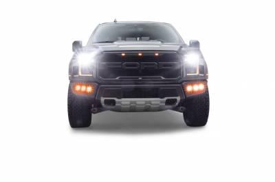 ZROADZ OFF ROAD PRODUCTS - 2017-2020 Ford F-150 Raptor Front Bumper OEM Fog Amber LED Kit with (6) 3 Inch Amber LED Pod Lights - PN #Z325673-KIT - Image 2