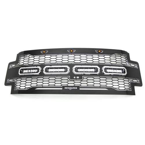 """T-REX GRILLES - 2017-2019 Super Duty Revolver Grille, Black, 1 Pc, Replacement with (4) 6"""" LEDs, Fits Vehicles with Camera - PN #6515631 - Image 4"""