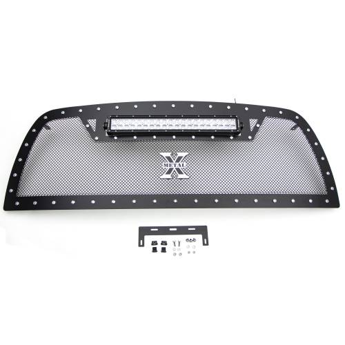 """T-REX GRILLES - 2013-2018 Ram 2500, 3500 Torch Grille, Black, 1 Pc, Replacement, Chrome Studs with (1) 20"""" LED - PN #6314521 - Image 6"""