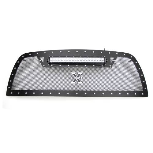 """T-REX GRILLES - 2010-2012 Ram 2500, 3500 Torch Grille, Black, 1 Pc, Replacement, Chrome Studs with (1) 20"""" LED - PN #6314531 - Image 6"""