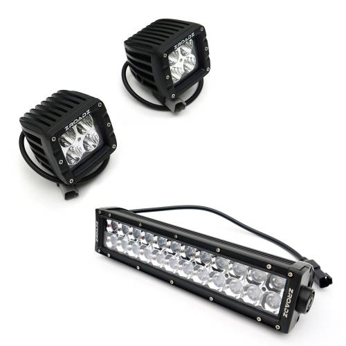 """T-REX GRILLES - 2009-2012 F-150 Laser Torch Grille, Black, 1 Pc, Insert, Chrome Studs with (2) 3"""" LED Cubes and (1) 12"""" LEDs - PN #7315681 - Image 2"""