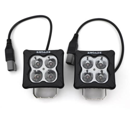 ZROADZ OFF ROAD PRODUCTS - 3 inch ZROADZ LED Light Pod Kit, G2 Series, Amber, Flood Beam, 2 Piece Kit With Wiring Harness - PN #Z30BC12W-D3A-K - Image 2