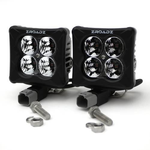 ZROADZ OFF ROAD PRODUCTS - 3 inch ZROADZ LED Light Pod Kit, G2 Series, Amber, Flood Beam, 2 Piece Kit With Wiring Harness - PN #Z30BC12W-D3A-K - Image 3
