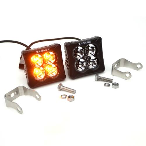 ZROADZ OFF ROAD PRODUCTS - 3 inch ZROADZ LED Light Pod Kit, G2 Series, Amber, Flood Beam, 2 Piece Kit With Wiring Harness - PN #Z30BC12W-D3A-K - Image 4