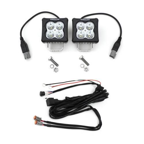 ZROADZ OFF ROAD PRODUCTS - 3 inch ZROADZ LED Light Pod Kit, G2 Series, Bright White, Flood Beam, 2 Piece With Wiring Harness - PN #Z30BC20W-D3F-K - Image 1