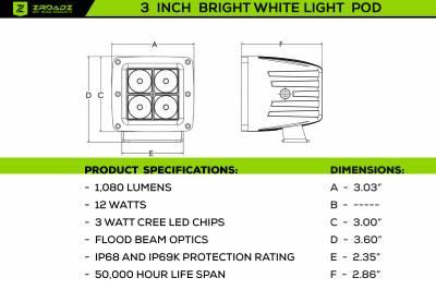 ZROADZ OFF ROAD PRODUCTS - 3 Inch LED Flood Beam Pod Lights - PN #Z30BC14W20 - Image 4