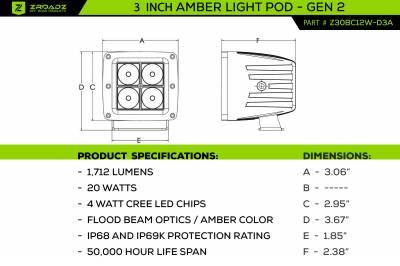 ZROADZ OFF ROAD PRODUCTS - 3 inch ZROADZ LED Light Pod Kit, G2 Series, Amber, Flood Beam, 2 Piece Kit With Wiring Harness - PN #Z30BC12W-D3A-K - Image 8